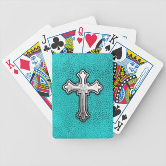 Teal Metal Cross Bicycle Playing Cards