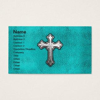 Teal Metal Cross Business Card