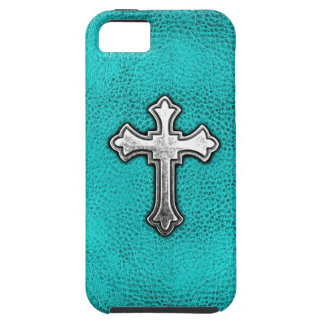 Teal Metal Cross iPhone 5 Case