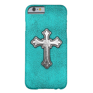 Teal Metal Cross Barely There iPhone 6 Case