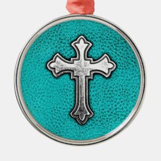Teal Metal Cross Christmas Ornament