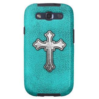 Teal Metal Cross Galaxy S3 Cases