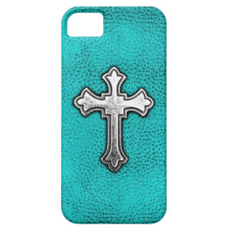 Teal Metal Cross iPhone 5 Cover