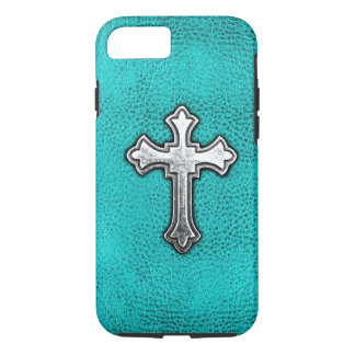 Teal Metal Cross iPhone 8/7 Case