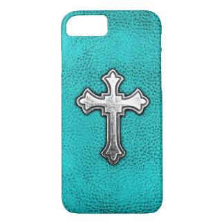 Teal Metal Cross iPhone 8/7 Case