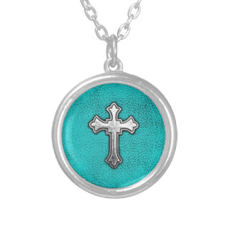 Teal Metal Cross Round Pendant Necklace