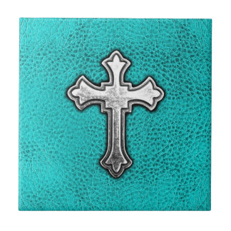 Teal Metal Cross Tile
