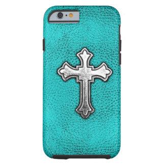 Teal Metal Cross Tough iPhone 6 Case