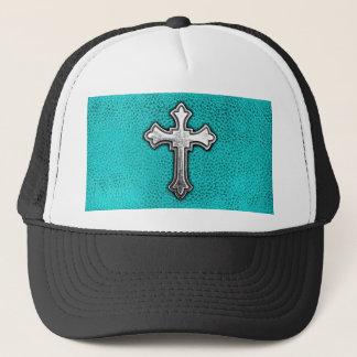 Teal Metal Cross Trucker Hat