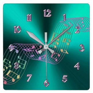 Teal Metallic Music Notes Clock