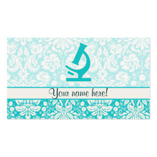 Teal Microscope; Cute Pack Of Standard Business Cards