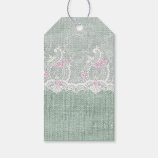 Teal Mint Burlap and Lace Gift Tag