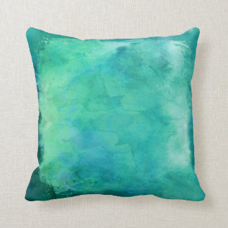 Teal Mint Green Watercolor Texture Pattern Throw Pillow