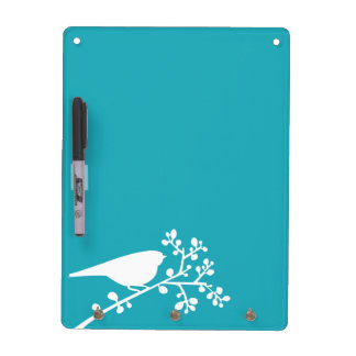 Teal Mod Single Bird and Berries Dry Erase Board