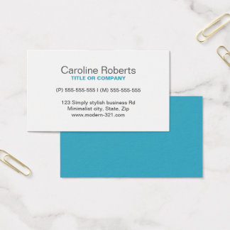 Teal modern generic simple elegant personal business card