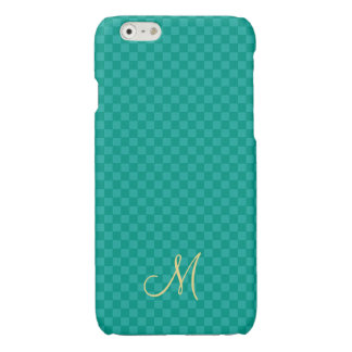 Teal Modern Monogram Pattern iPhone Slim Hard Case iPhone 6 Plus Case