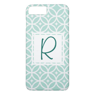 Teal Monogram Abstract Pattern iPhone 8 Plus/7 Plus Case