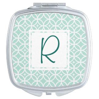 Teal Monogram Abstract Pattern Makeup Mirrors