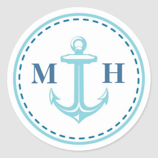 Teal Monogram Nautical Theme Large Stickers