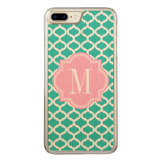Teal Moroccan Pattern with Pink Monogram Carved iPhone 8 Plus/7 Plus Case