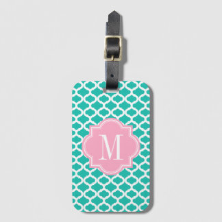 Teal Moroccan Pattern with Pink Monogram Luggage Tag