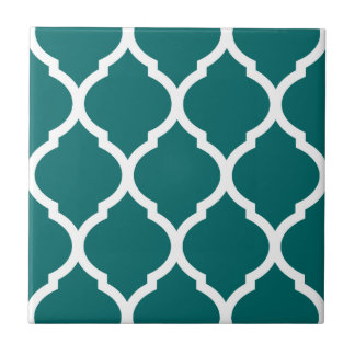 Teal Moroccan Quatrefoil Patterned Ceramic Tile