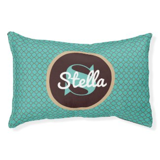 Teal Moroccan w/Monogram Pet Bed