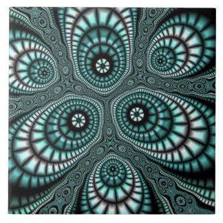 Teal Mosaic Fractal Tile