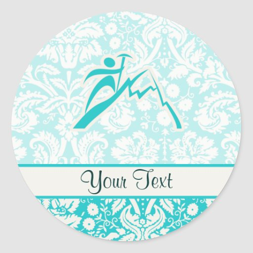 Teal Mountain Climbing Round Stickers