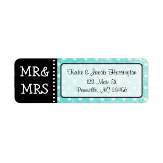 Teal Mr & Mrs Black Return Address Labels