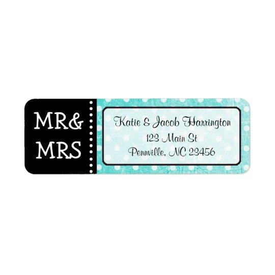 Teal Mr & Mrs Black Return Address Labels