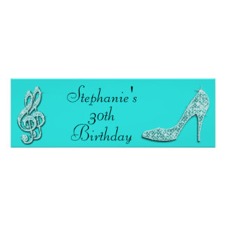 Teal Music Notes and Stiletto 30th Birthday Poster