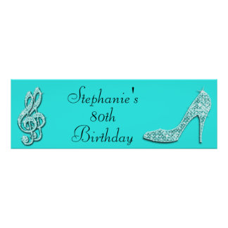 Teal Music Notes and Stiletto 80th Birthday Poster