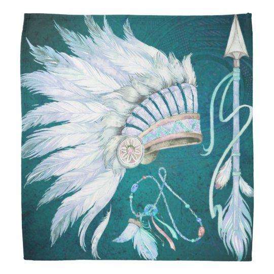 Teal Native American Headdress Arrow southwest Head Kerchiefs