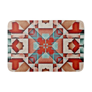 Teal Native American Indian Rustic Tribe Pattern Bath Mats