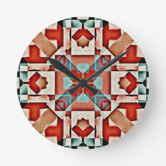 Teal Native American Indian Rustic Tribe Pattern Wall Clocks