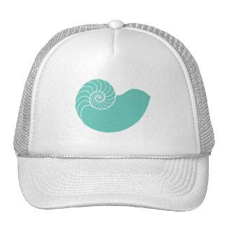 Teal Nautilus Sea Shell Mesh Hat