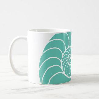 Teal Nautilus Sea Shell Coffee Mug