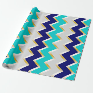 Teal, navy blue, and gray chevron Wrapping paper