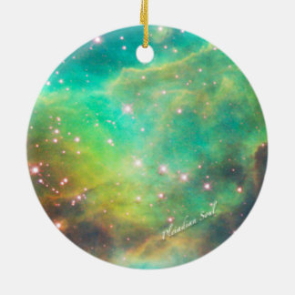 Teal Nebula Round Ornament #3