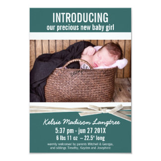 Teal New Baby Girl Birth Announcement