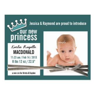 Teal Newborn Baby Girl Postcard