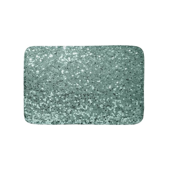 Sea Life Turtle Wave Rug2 Bath Mat: Teal Ocean Blue Aqua Glitter Sequin Luxury Bath Mat