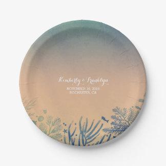 Teal Ocean Underwater Beach Wedding Paper Plate