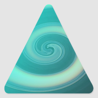 Teal Ocean Wave Triangle Sticker
