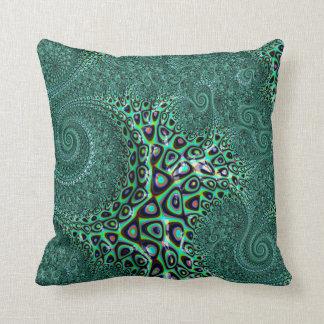 Teal Octopus Tentacles Steampunk Style Fractal Art Cushion