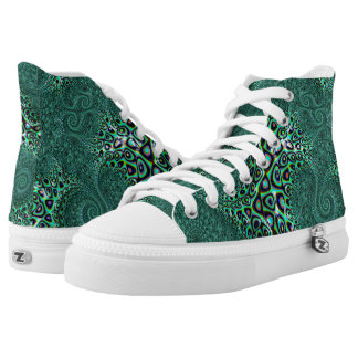 Teal Octopus Tentacles Steampunk Style Fractal Art High Tops