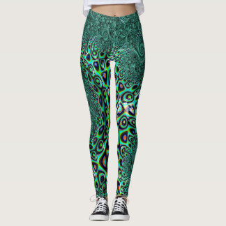 Teal Octopus Tentacles Steampunk Style Fractal Art Leggings