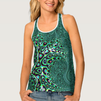 Teal Octopus Tentacles Steampunk Style Fractal Art Tank Top