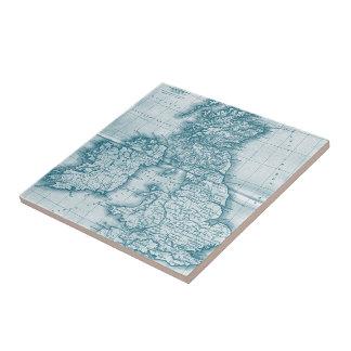 Teal Old World Antique Map Tile and Trivet